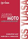 Záruční list a návod k obsluze auto-moto akumulátory
